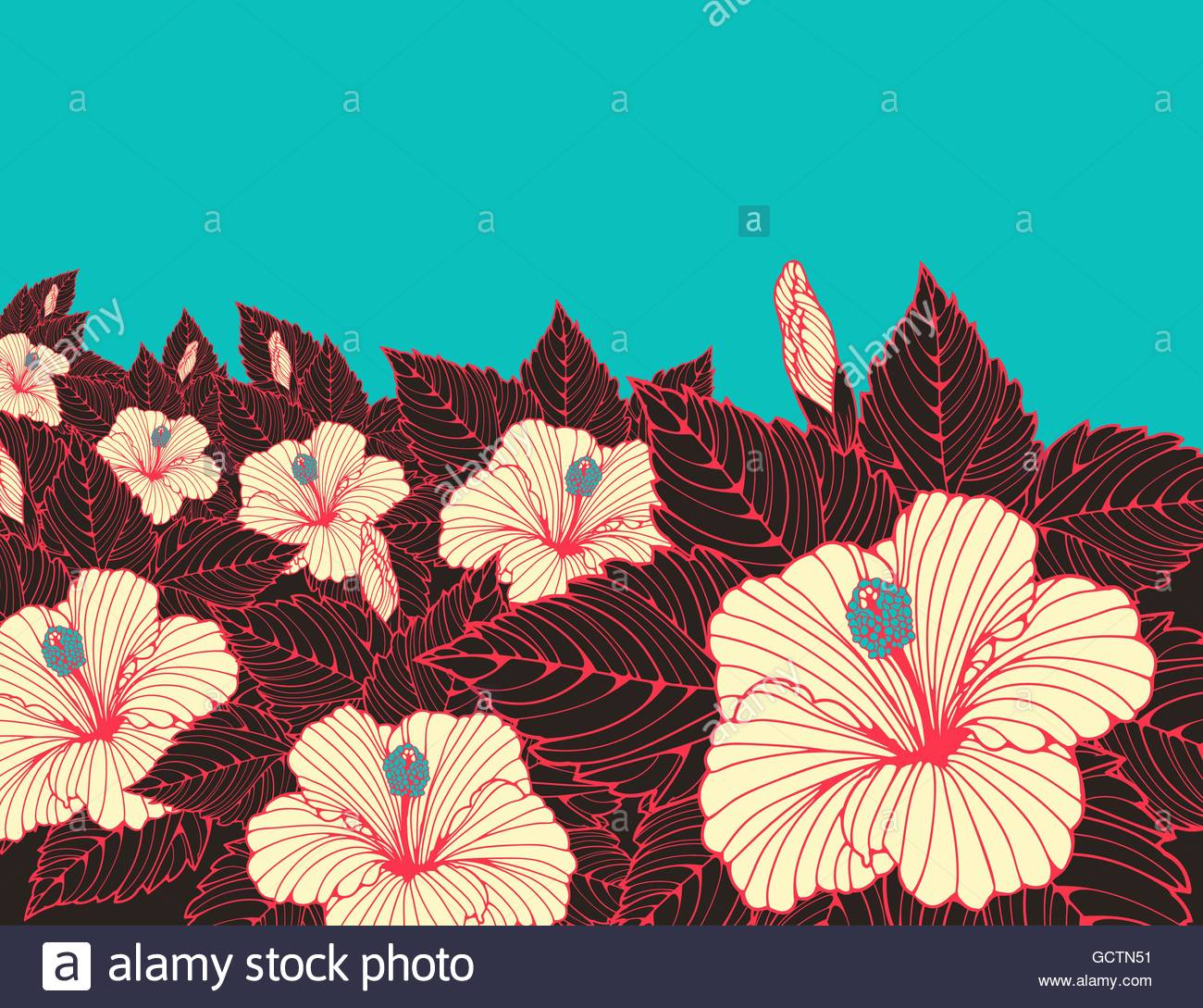 a wallpaper poster background with a field of hibiscus flowers in