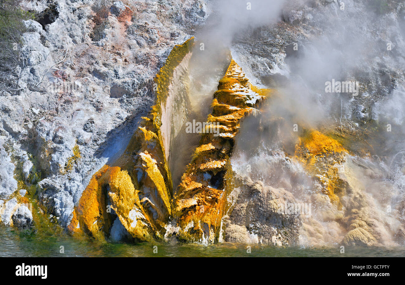 Hot steam flowing out of a golden volcanic vent on the edge of Lake Rotomahana, Waimangu, New Zealand - Stock Image