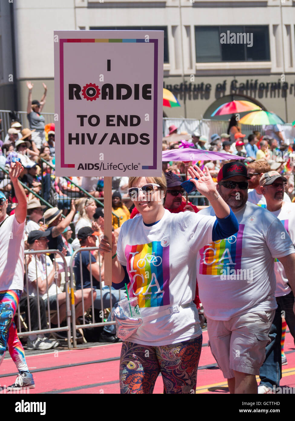 Roadies for AIDS in San Francisco Pride Parade 2016 - Stock Image