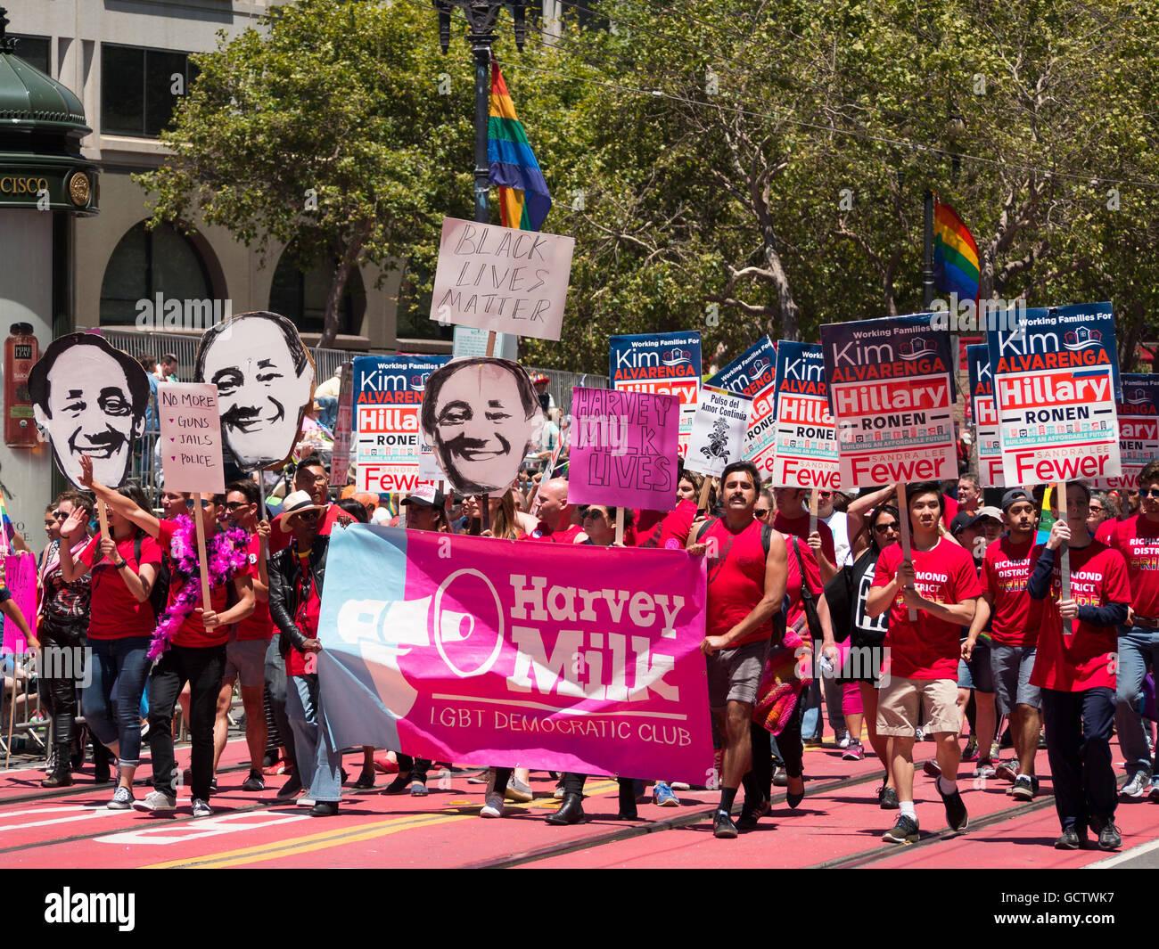Harvey Milk LGBT Democratic Club parades San Francisco Pride ...