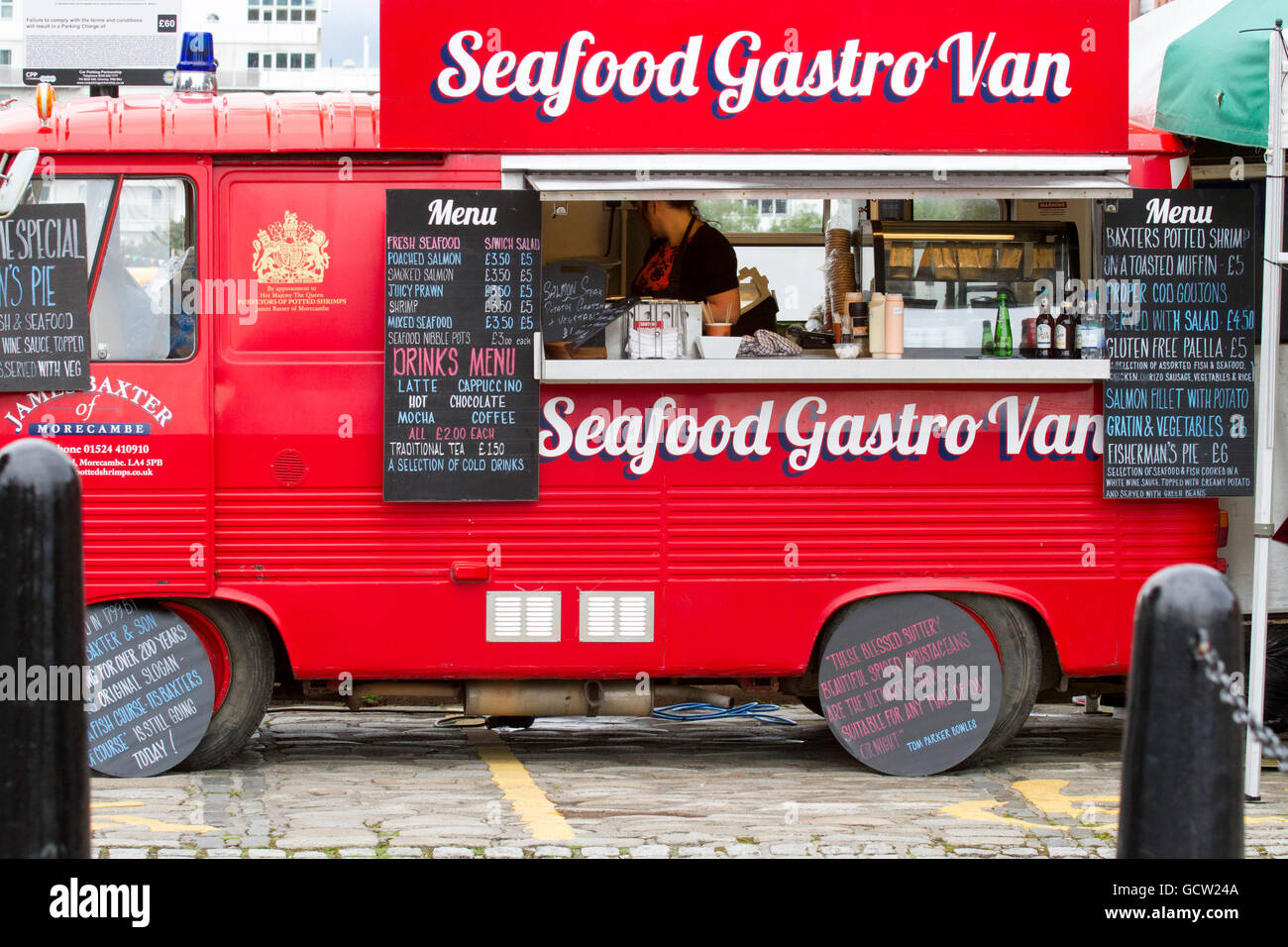 Mobile food vehicle stock photos mobile food vehicle for Docks fish menu