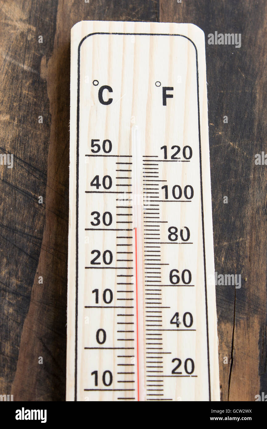 mercury thermometer with celsius and fahrenheit degrees stock photo
