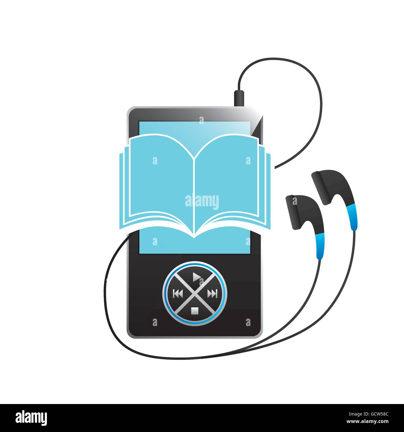 Mp3, book and Headphone icon. Audiobooks design. Vector graphic Stock Vector
