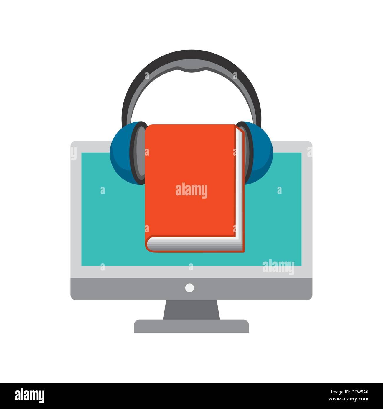 Computer, Book and Headphone icon. Audiobooks design. Vector gra Stock Vector