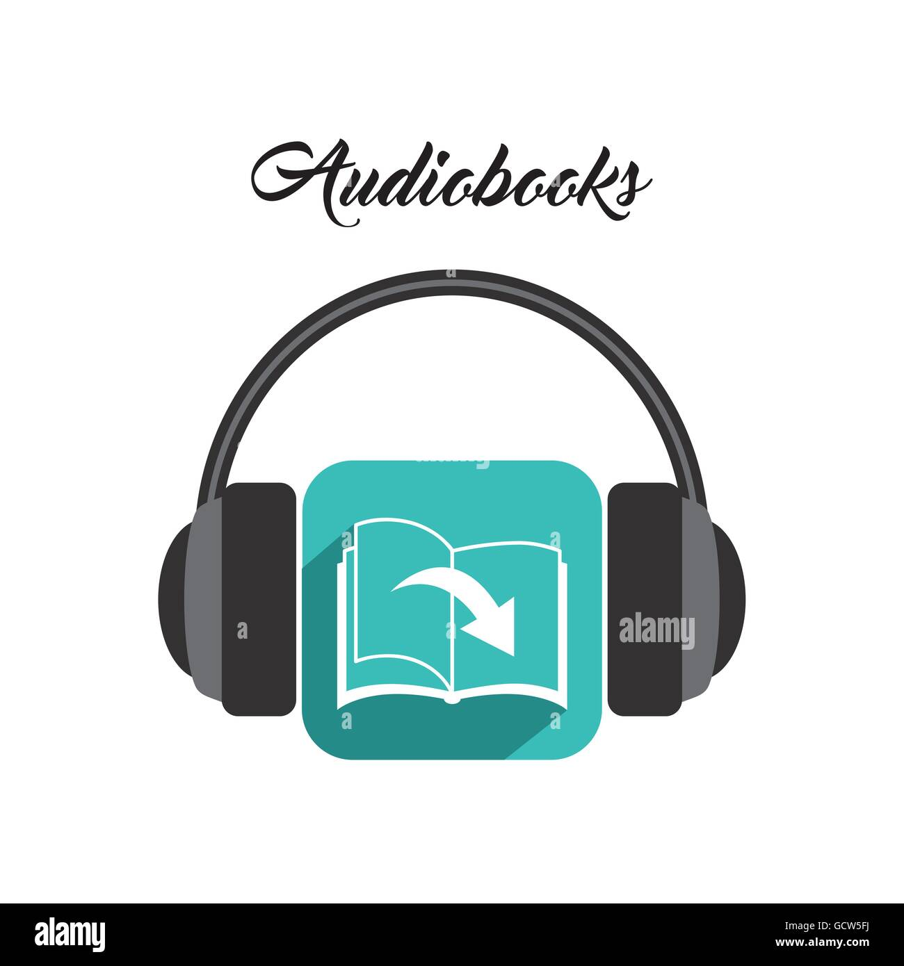 Book and Headphone icon. Audiobooks design. Vector graphic Stock Vector