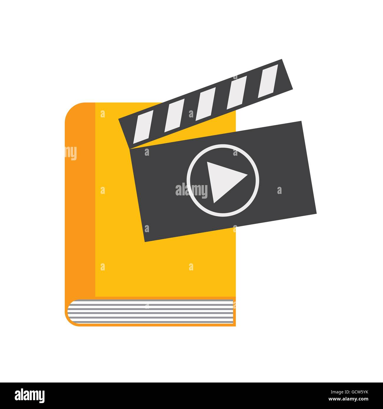 Book and play icon. Audiobooks design. Vector graphic Stock Vector