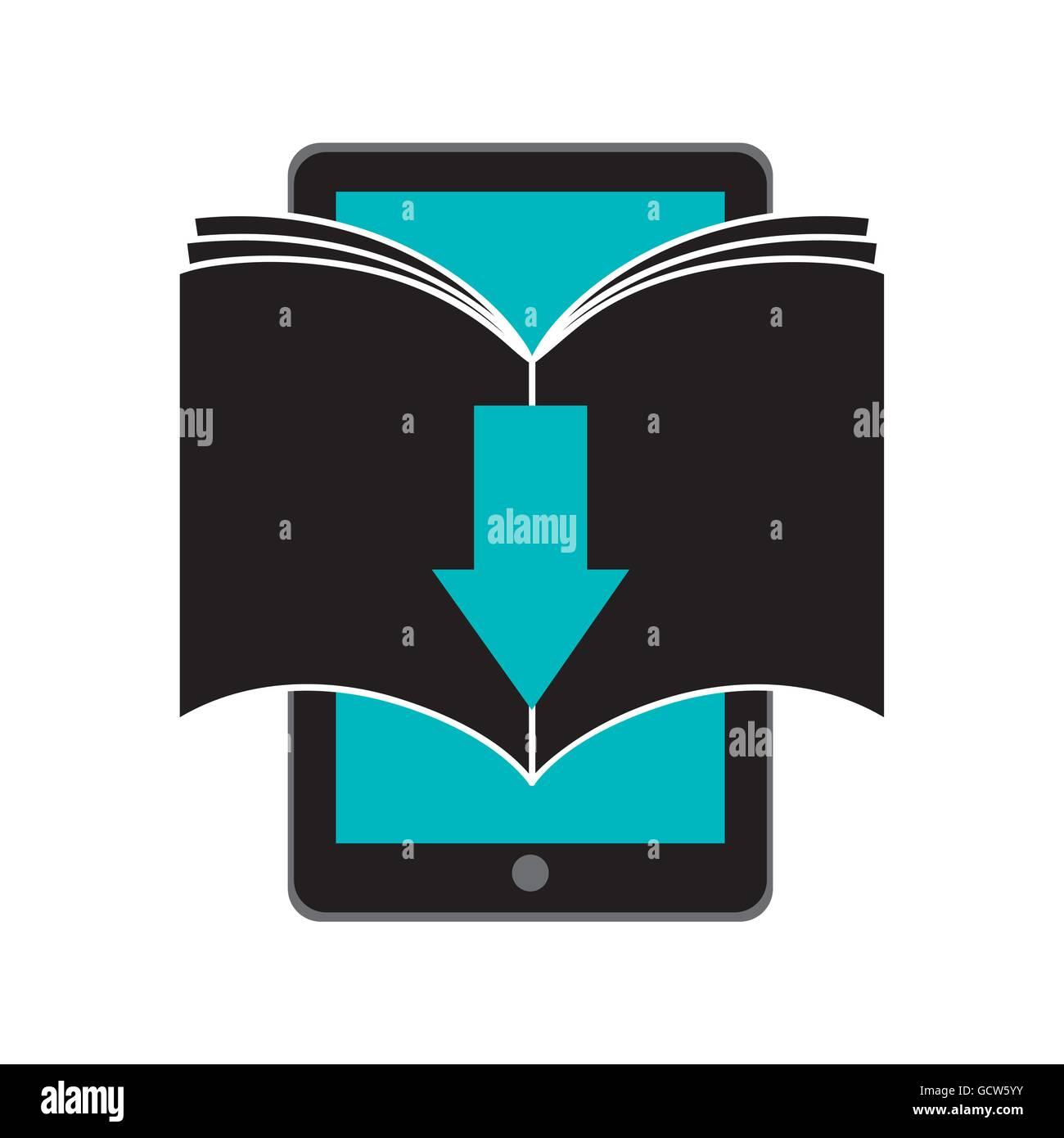 Book and Smartphone icon. Audiobooks design. Vector graphic Stock Vector