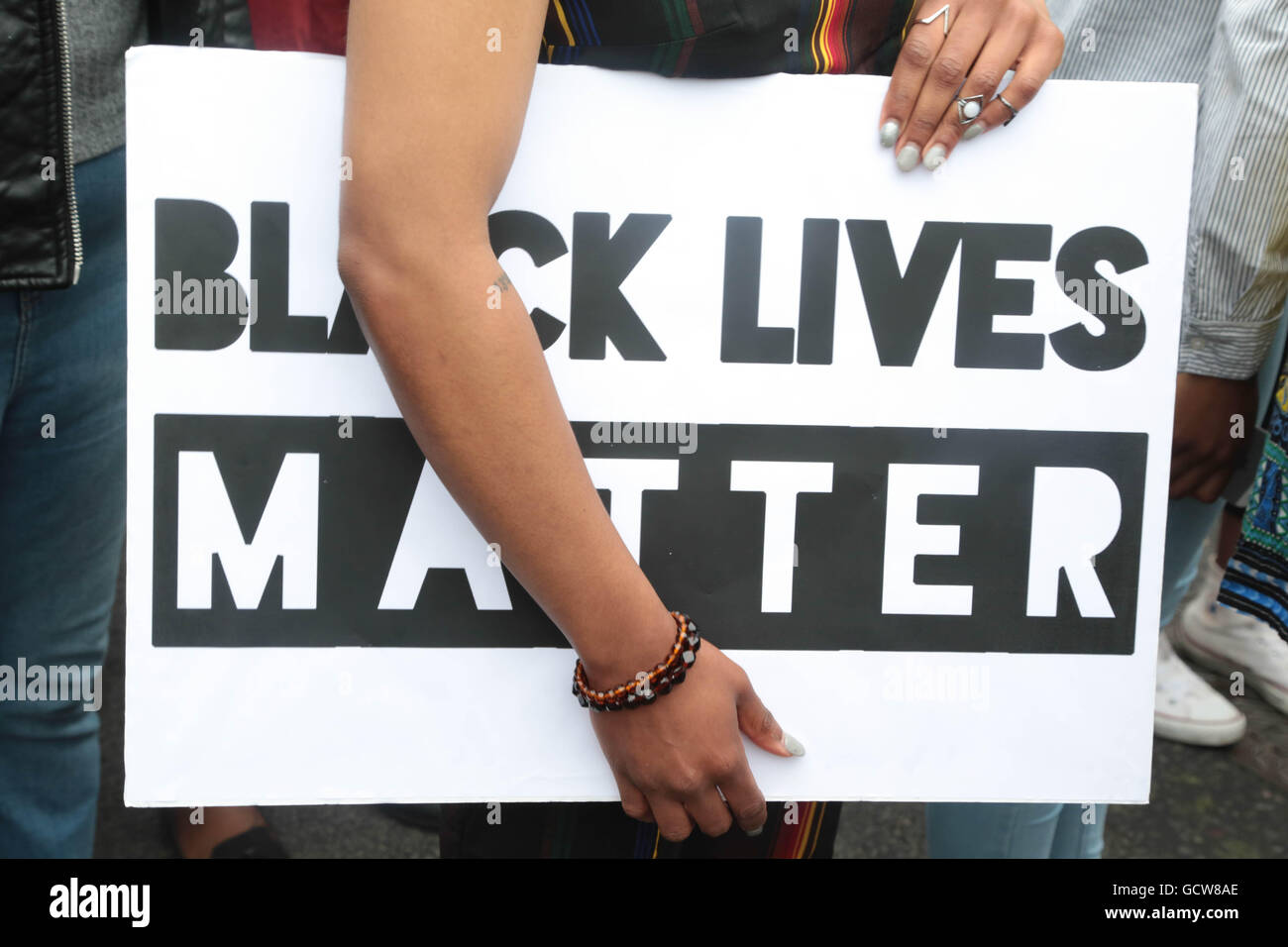 London UK. 09/07/2016  Black Lives Matter placard in response to high profile shootings of African Americans by - Stock Image