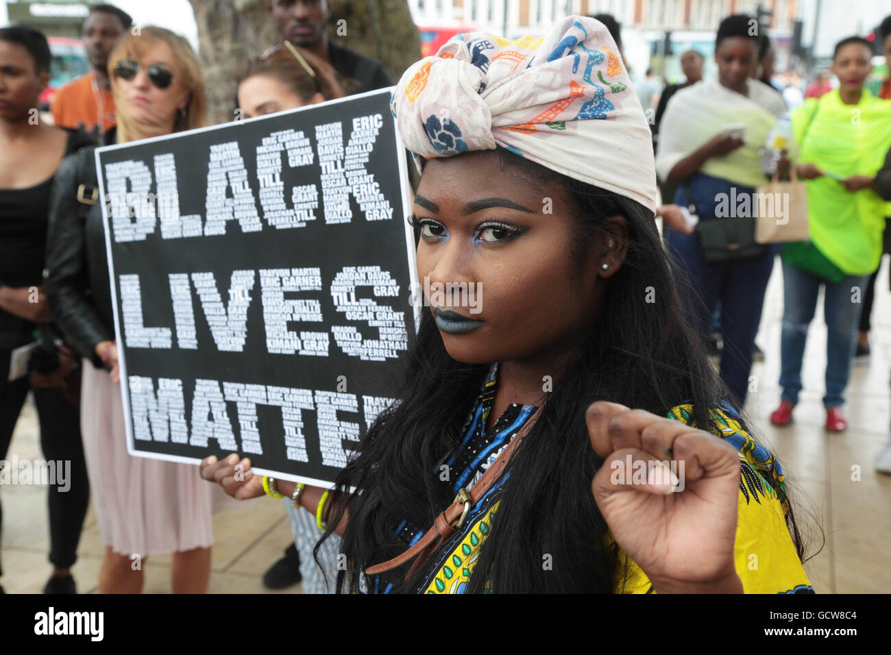 London UK. 09/07/2016 Woman at Black Lives Matter rally in response to high profile shootings of African Americans - Stock Image