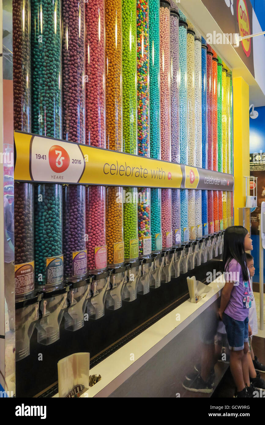 Specialty Mix Tubes, M&M's World Store, Times Square, NYC Stock