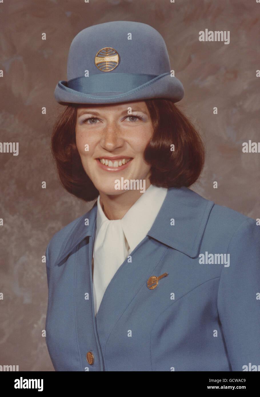 Pan American Airlines Flight Stewardess  1973, USA - Stock Image