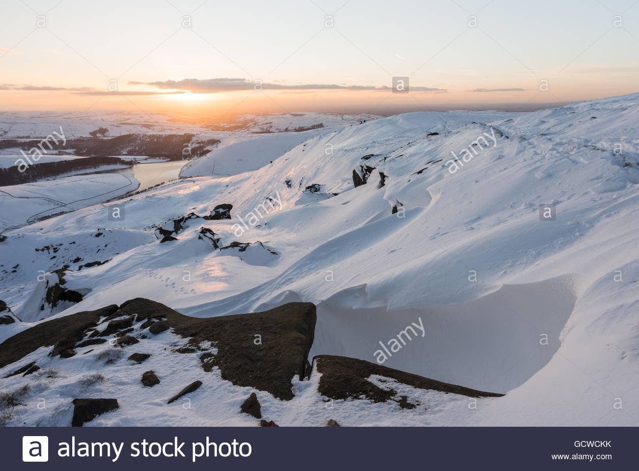 Sandy Heys in the Snow on Kinder Scout - Stock Image