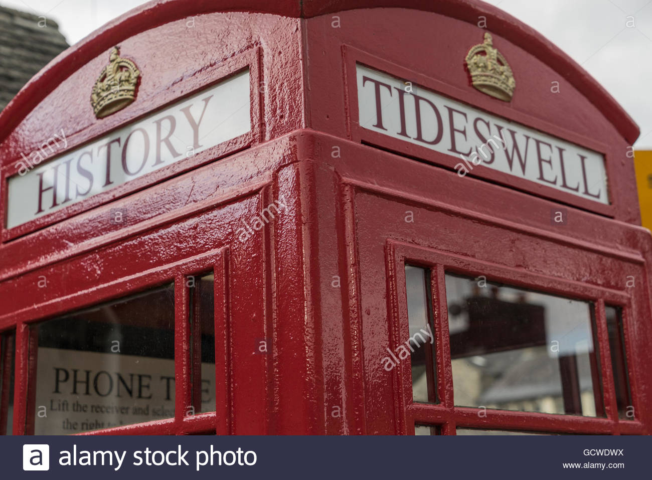 Tideswell Library Telephone Box - Stock Image