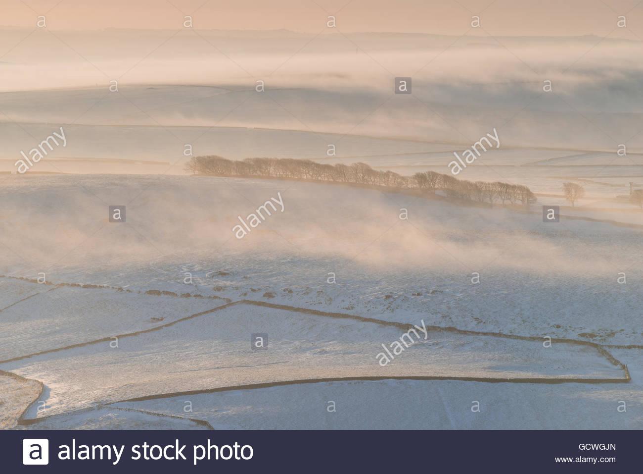 Mam Tor Foggy Fields - Stock Image