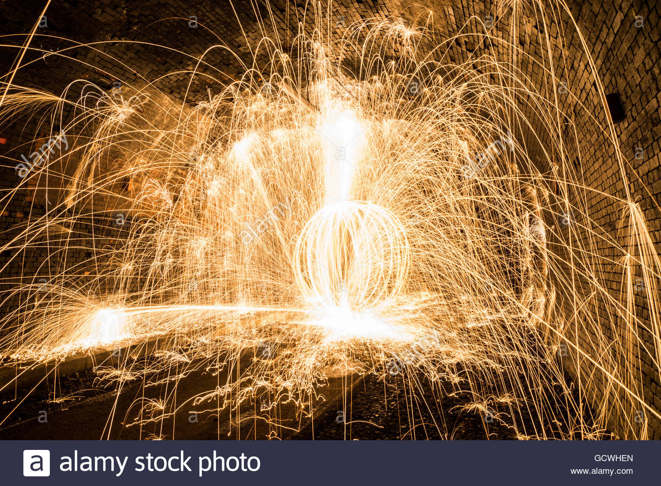 Cressbrook Tunnel Wire Wool Burning - Stock Image