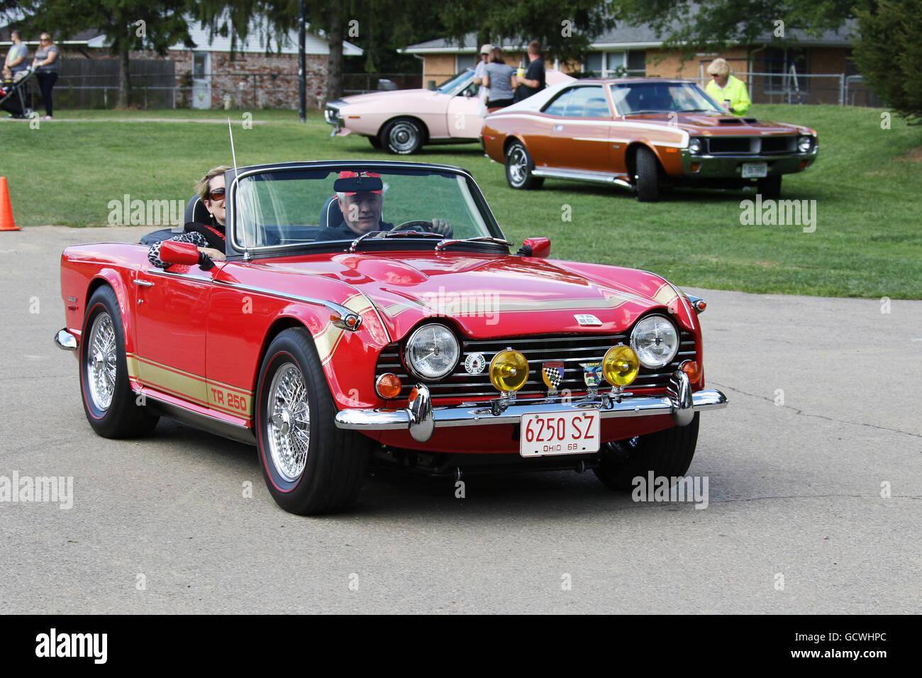 Auto- 1968 Triumph TR 250. Red. Convertible. Beavercreek Popcorn Festival. Beavercreek, Dayton, Ohio, USA. 6250SZ. - Stock Image