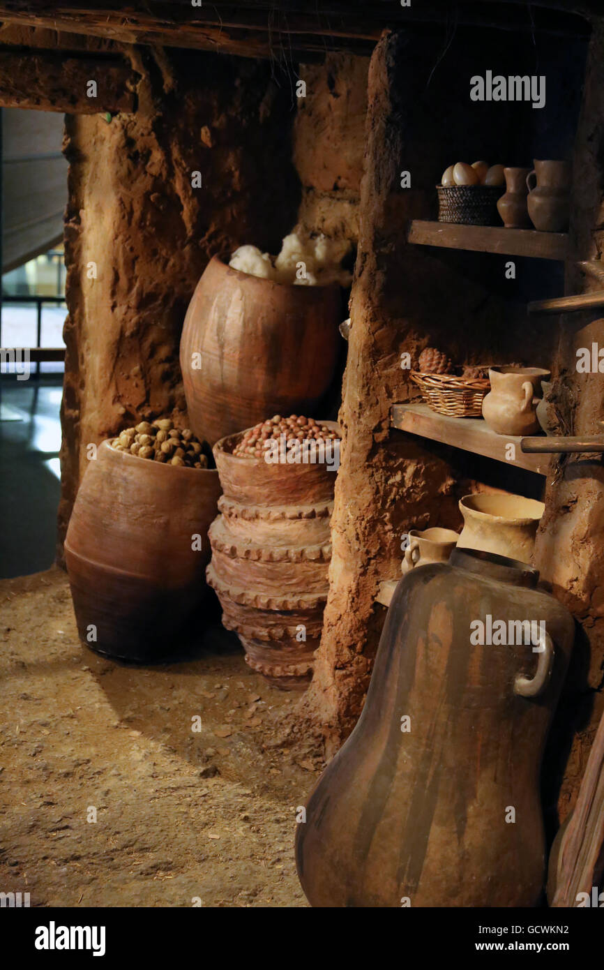 Neolithic period. 5500-4000 BC. Spain. Catalonia. House. Room. inside. Reproduction - Stock Image