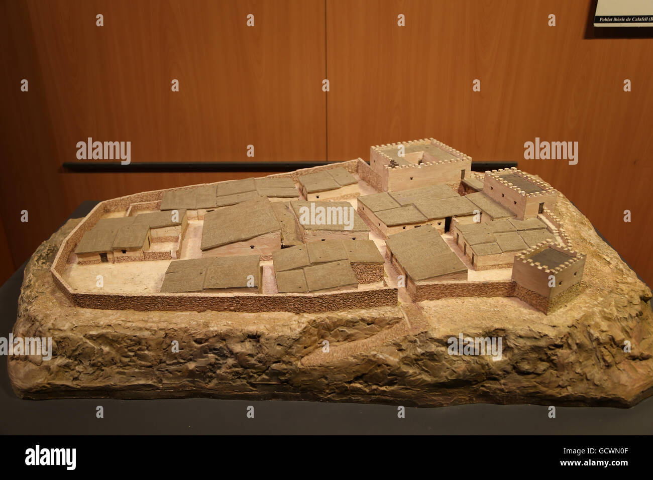 Iberian citadel of Calafell. Reproduction. Model. 3rd century BC. Museum of the History of Catalonia, Barcelona. - Stock Image