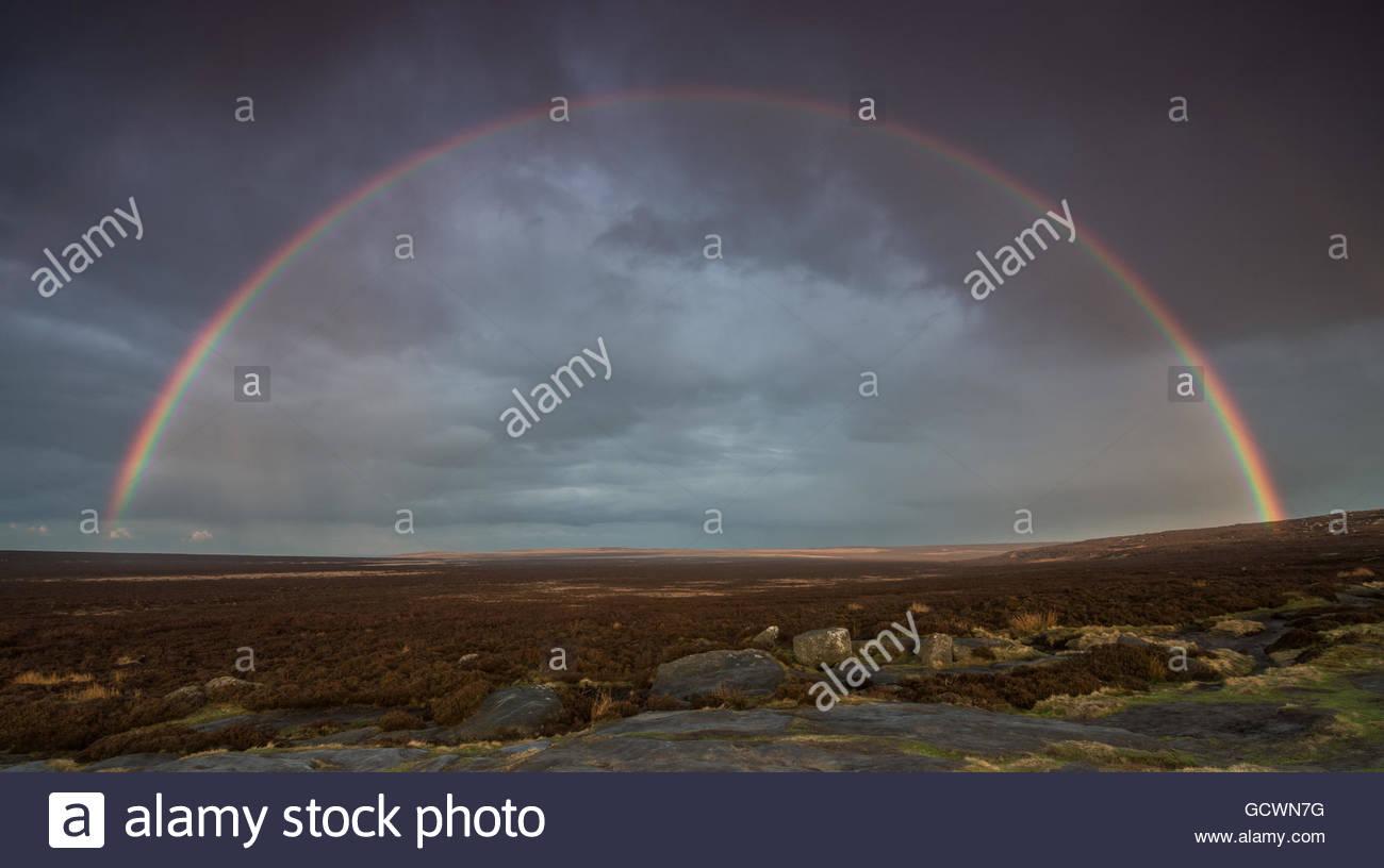 Stanage Edge Rainbow - Stock Image
