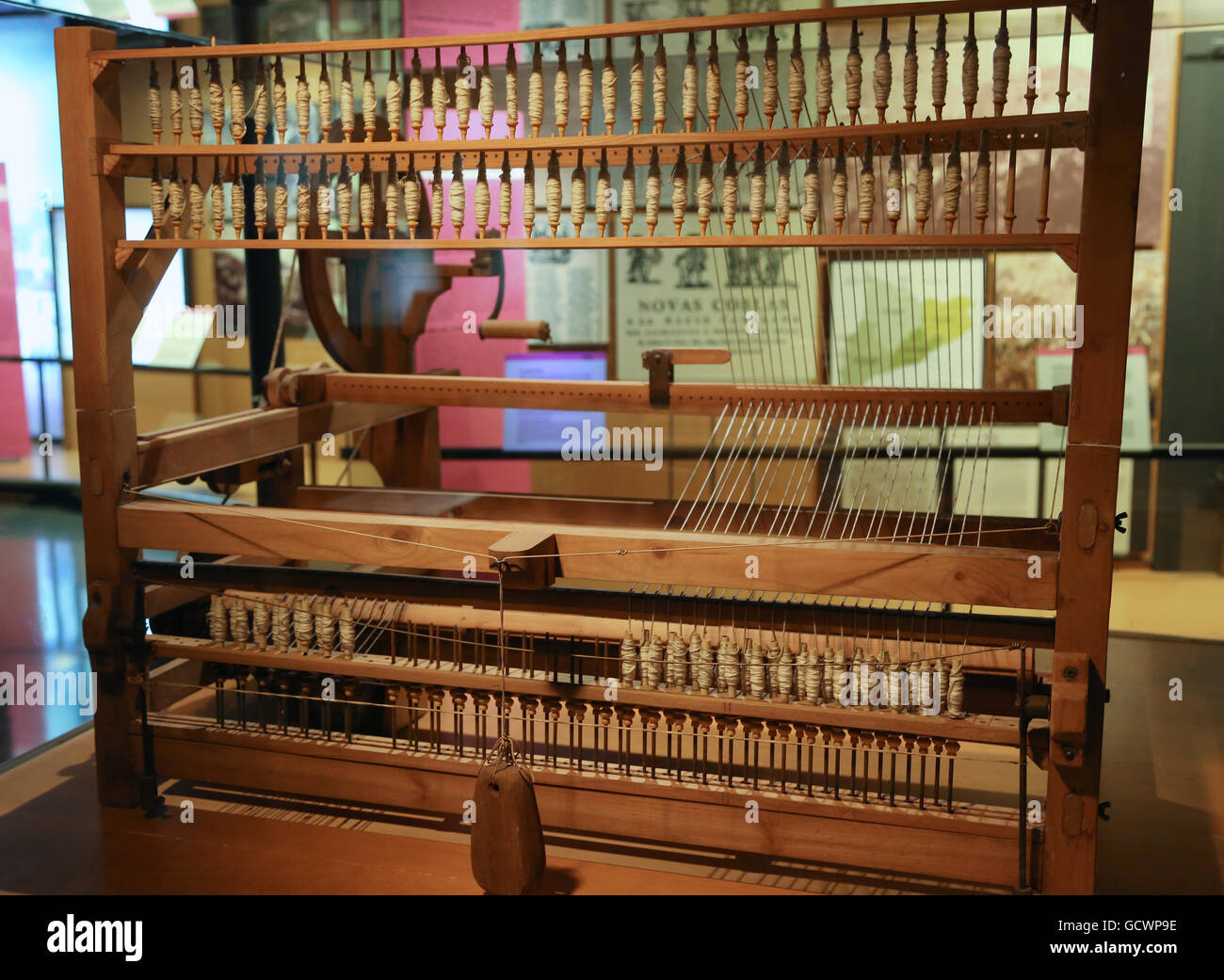 Ramon Fraguell desing a new spinning machine,  The Bergadana, 1790-1795. Replica. Museum of the History of Catalonia, - Stock Image