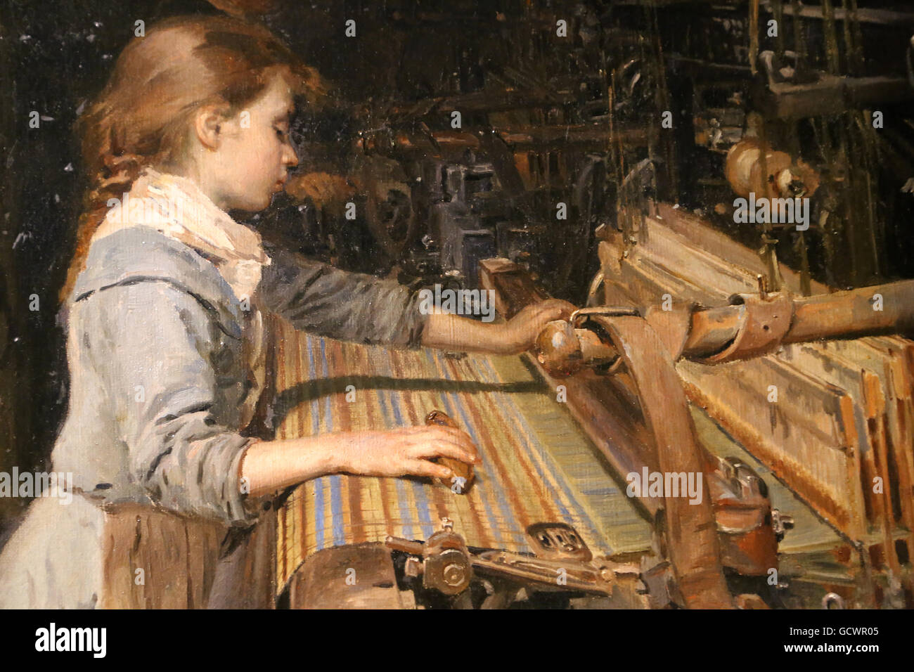 The working girl by Joan Planella, 1885. Museum of the History of Catalonia, Barcelona. Spain. - Stock Image