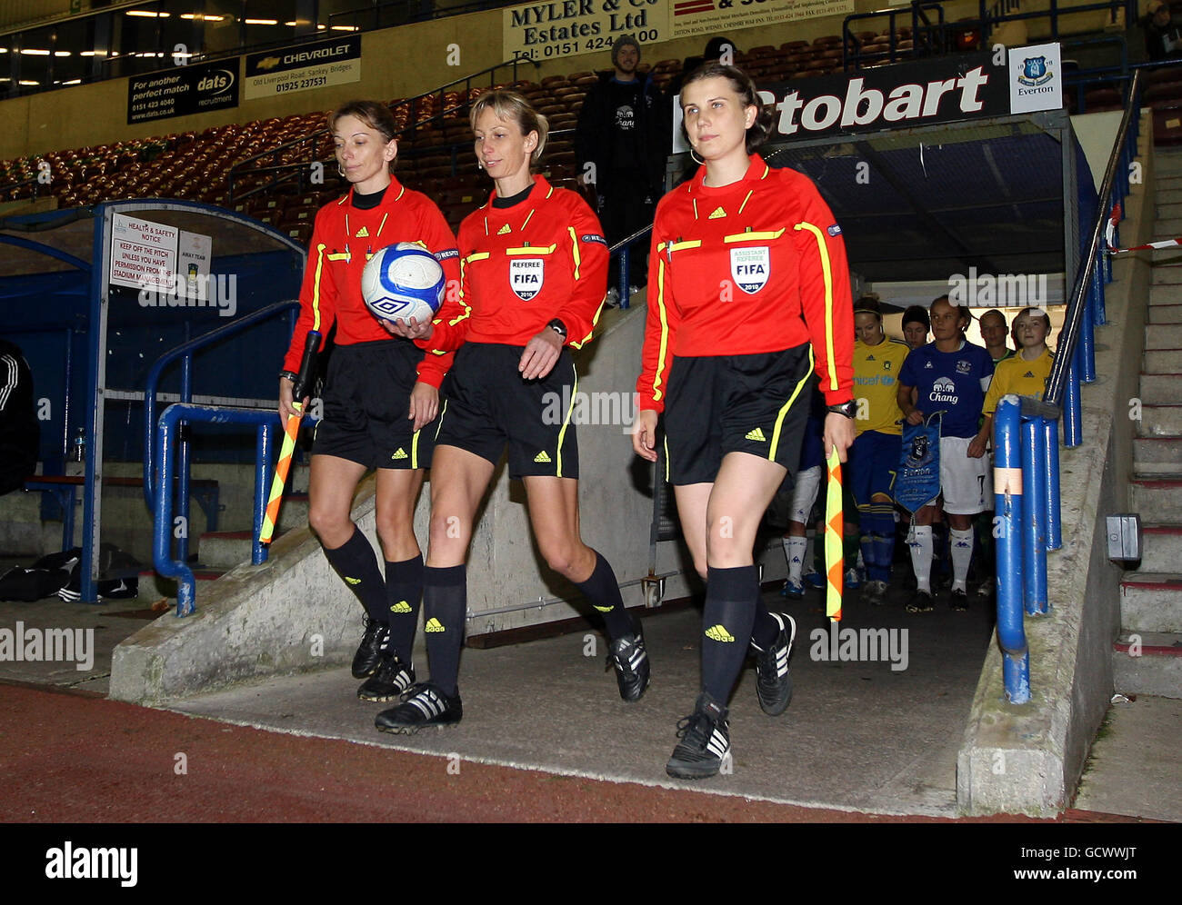 Soccer - UEFA Champions League - Round of 16 - Second Leg - Everton v Brondby IF - Stobart Stadium Halton - Stock Image
