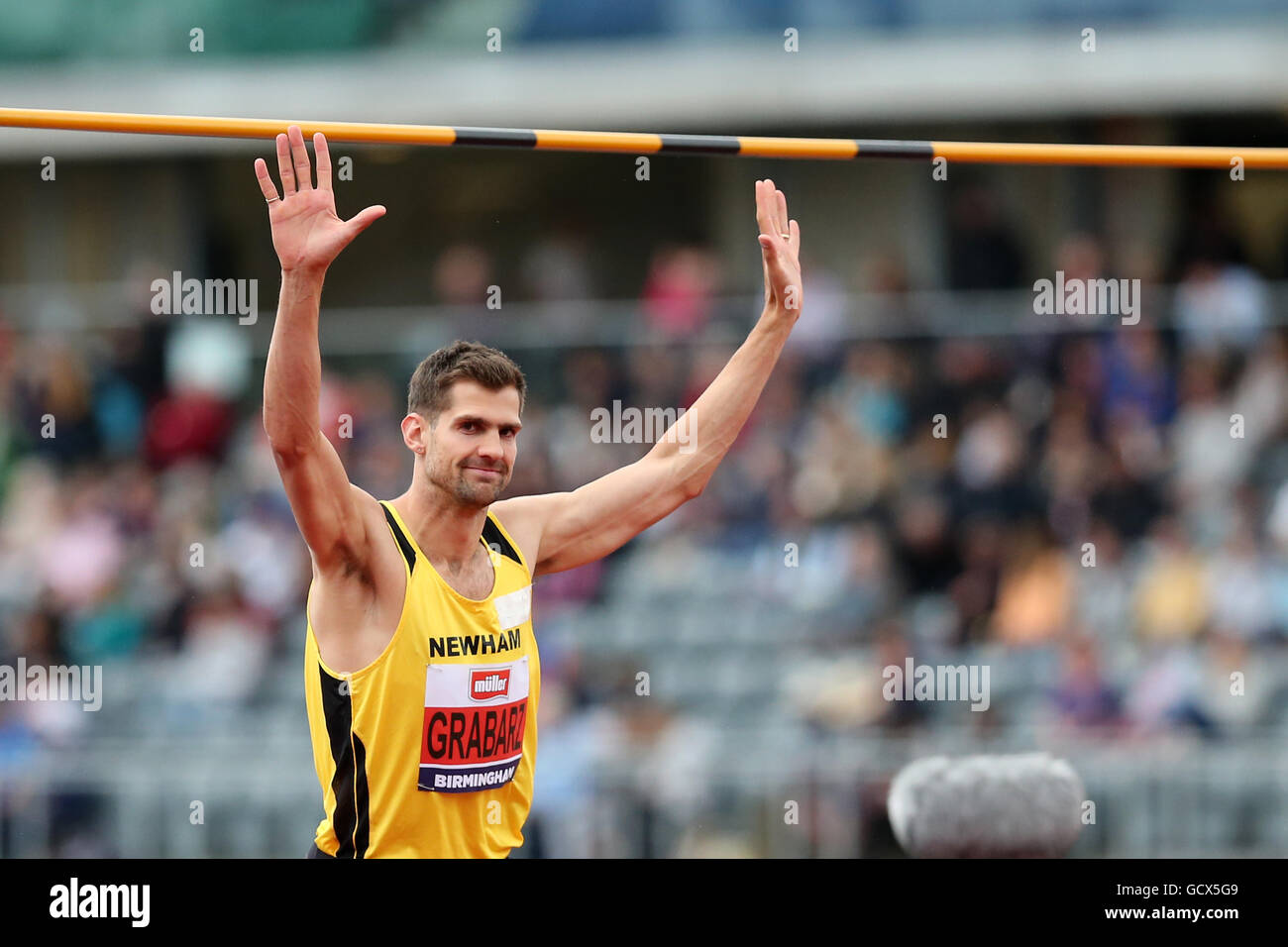 Robbie GRABARZ Men's High Jump Final, 2016 British Championships; Birmingham Alexander Stadium UK. - Stock Image