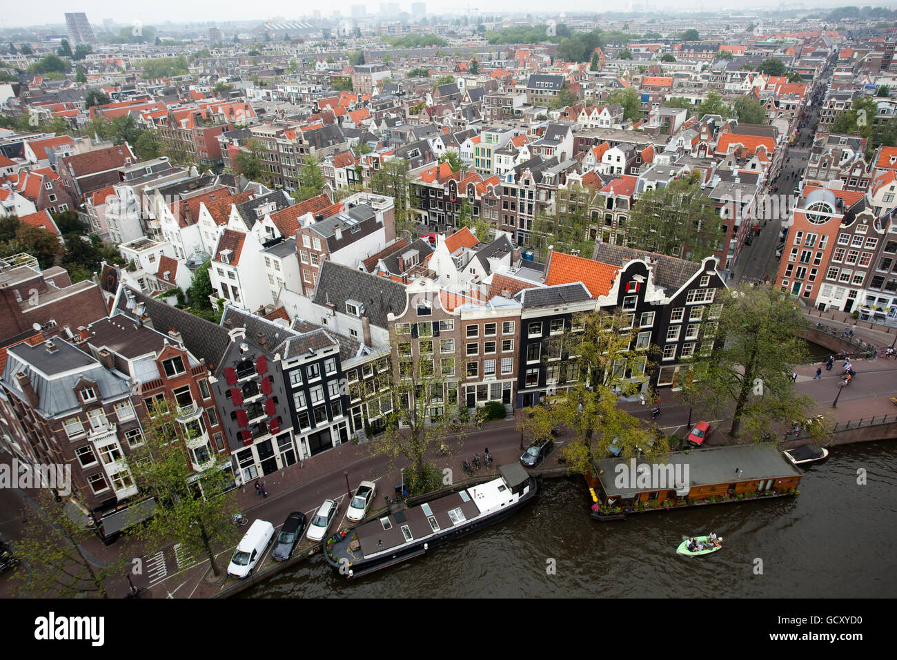 View from the Westerkerk church on the narrow alleys and houses in the Jordaan to the west of the Prinsengracht, - Stock Image