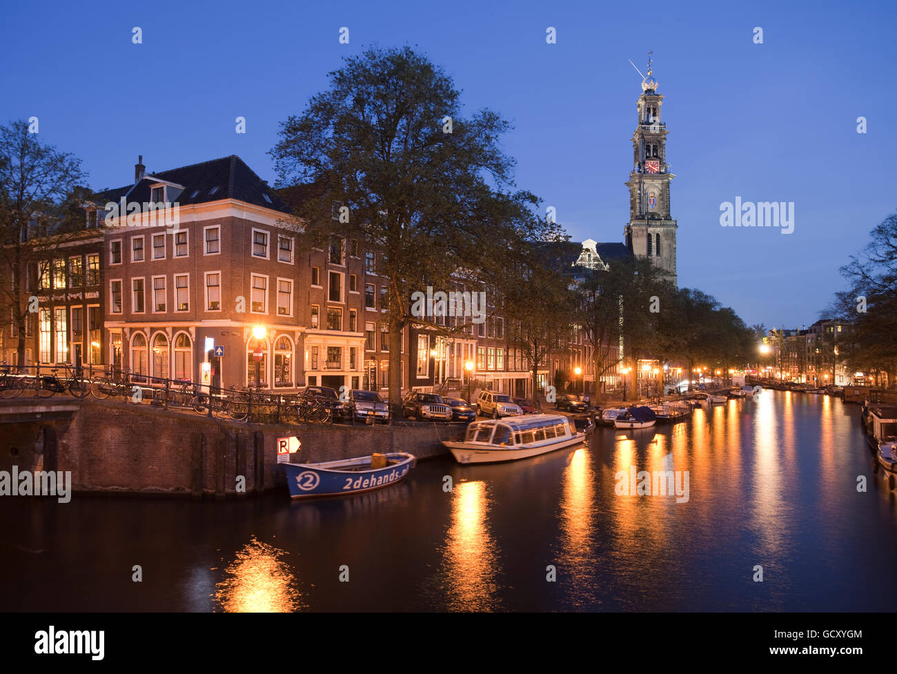 Westerkerk West Church with Westertoren bell tower, on the Prinsengracht canal, Amsterdam, Holland, Netherlands, - Stock Image