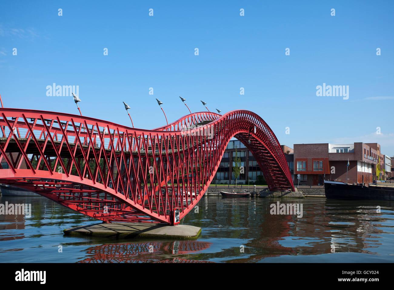 Pedestrian bridge connecting Borneo island and Sporenbrug island, designed by Adriaan Geuze, Amsterdam, Holland region Stock Photo