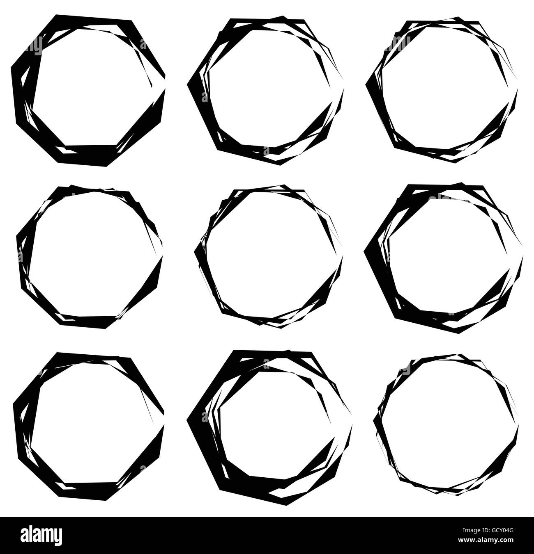Geometric frames. Set of edgy geometric circular frames Stock Vector ...