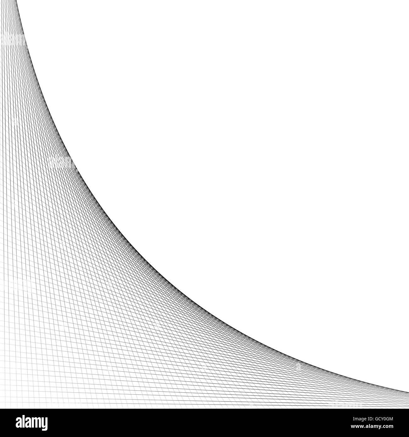 Grid, mesh of intersecting lines with curve, arc spreading from the corner. Reticulate pattern with asymmetry. Abstract - Stock Image