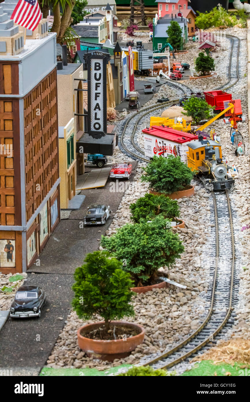 Miniature scale model railroad on display at Buffalo and Erie County Botanical Gardens in Buffalo New York - Stock Image