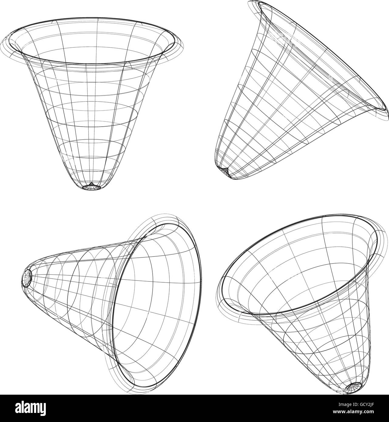 Abstract 3d Wireframe Objects 3d Spatial Shapes Set At 4