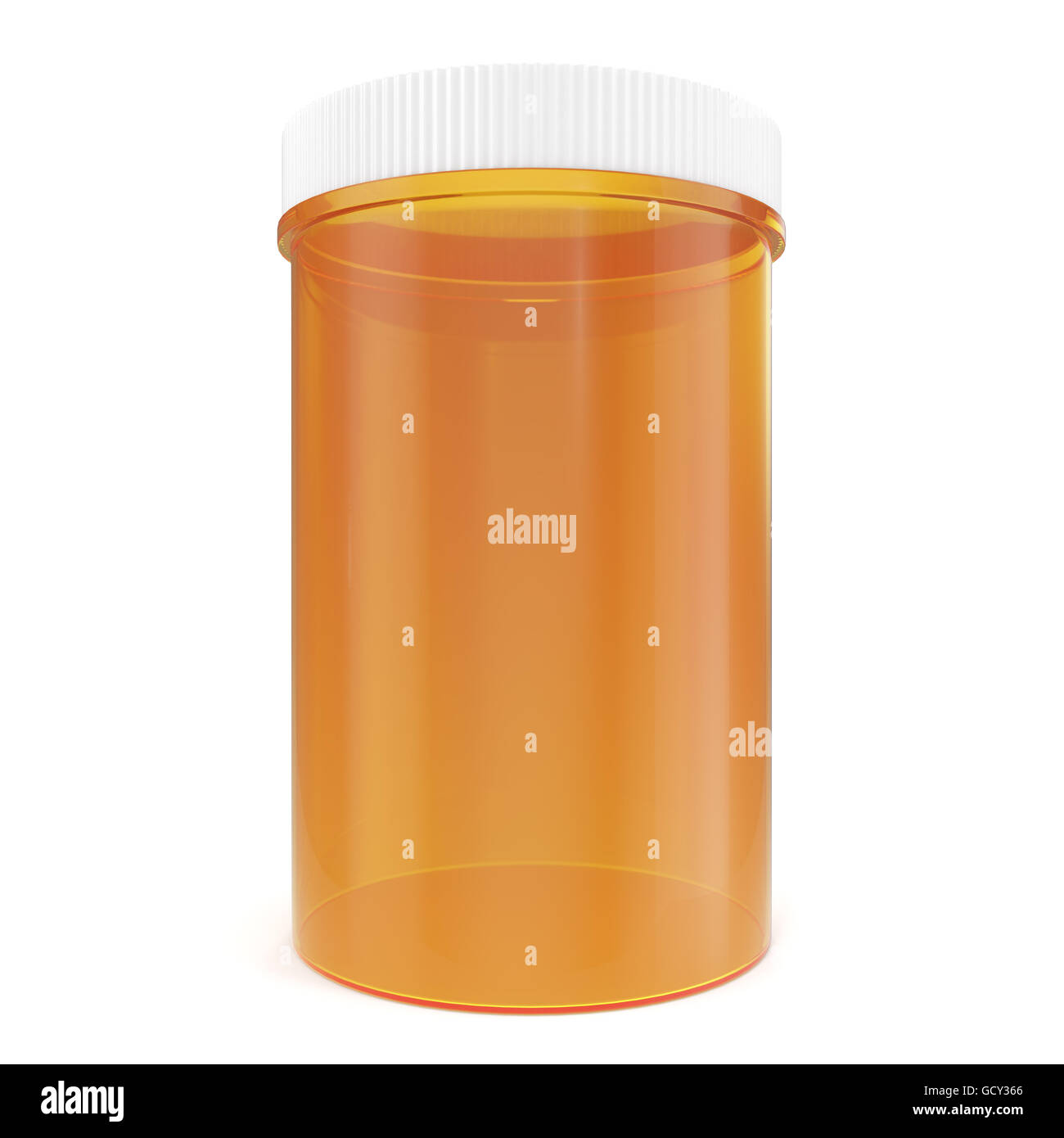 Transparent yellow pillbox unlabeled for medicine isolated on white background. 3d illustration Stock Photo