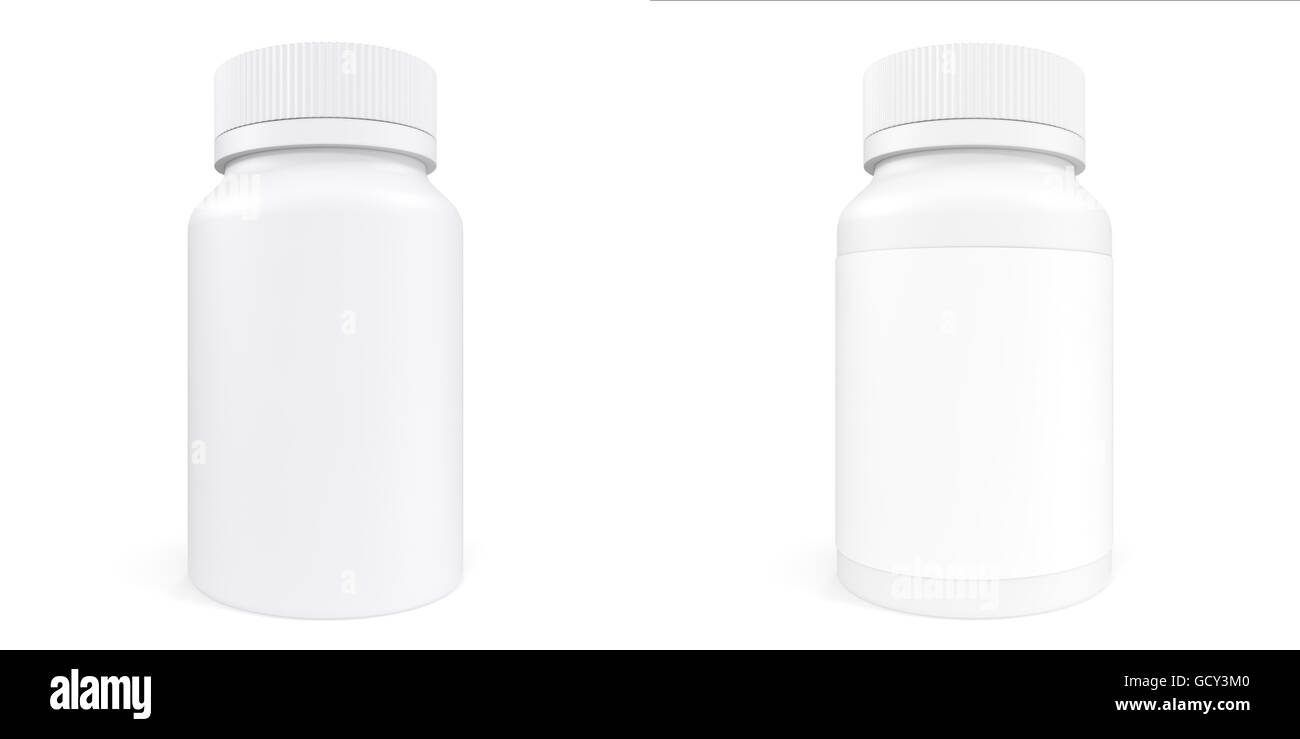 Set White Bottle Of Prescription Pill With Labels Template