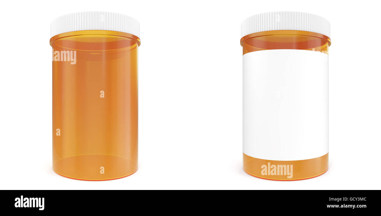 Set Bottle Of Prescription Pill With Labels Template 3d Illustration