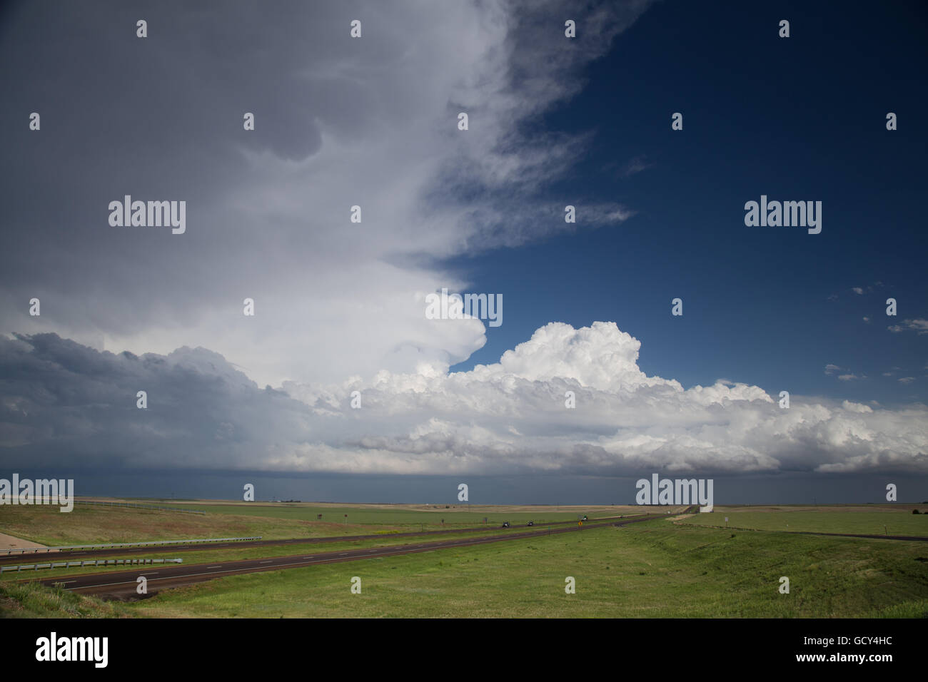 A thunderstorm over Interstate 70 near Colby, Kansas, June 1, 2014. - Stock Image