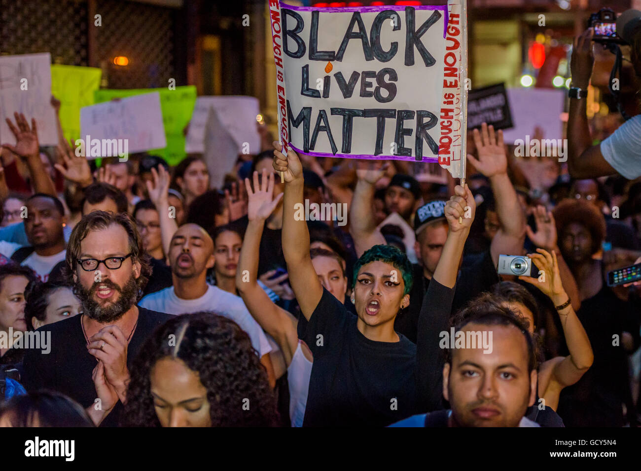 New York, United States. 09th July, 2016. For the third day in a row the Black Lives Matter movement took the streets - Stock Image