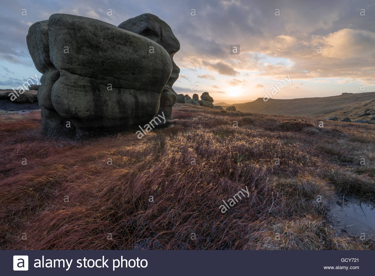 The Wool Packs on Kinder Scout at Sunset - Stock Image