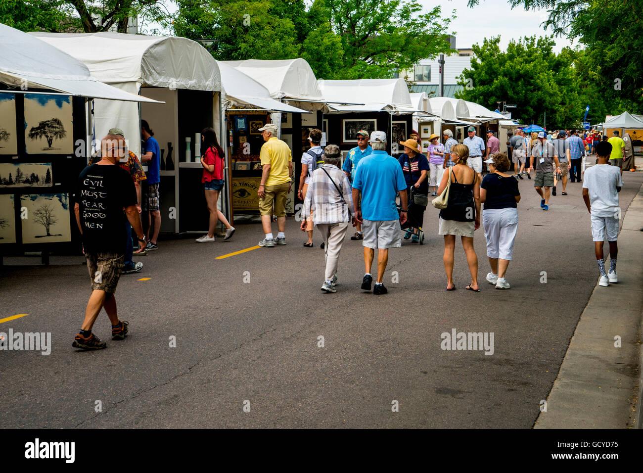 Street scene of Cherry Creek Art Festival in Denver Colorado Stock Photo