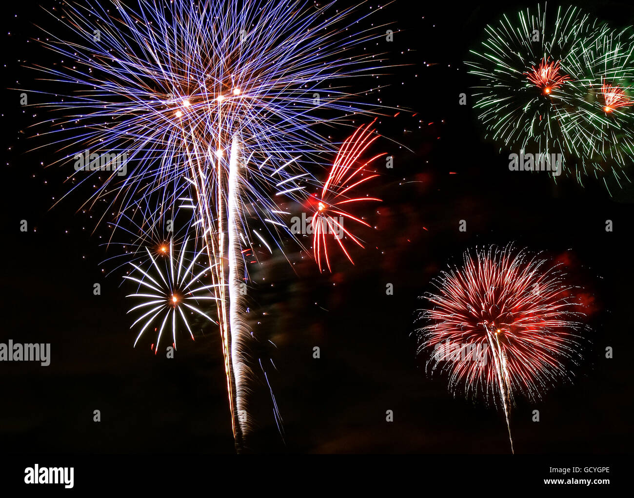 Fourth of July Fireworks. Miami. USA - Stock Image