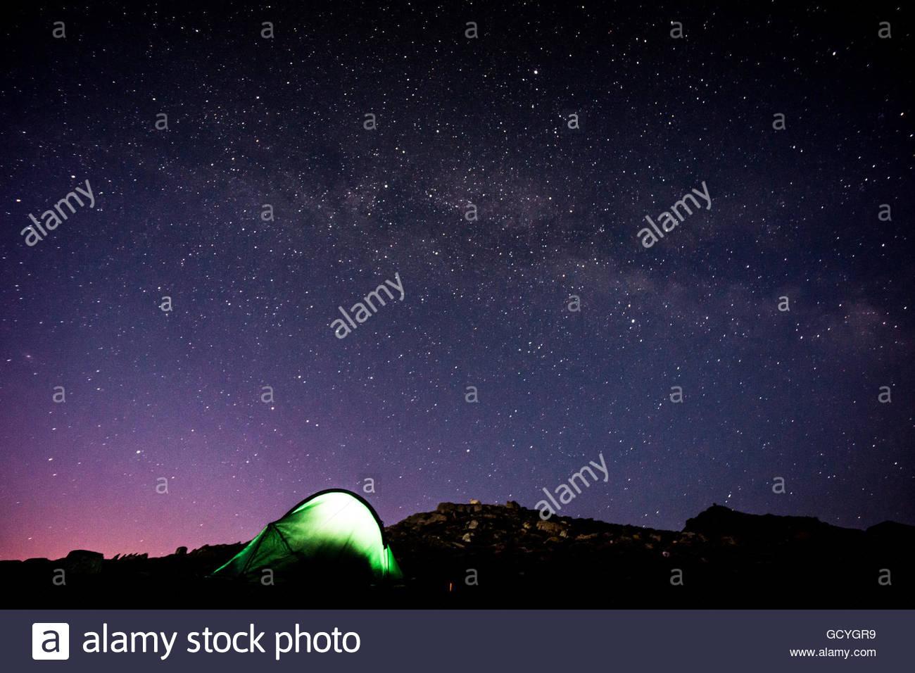 Night Sky on Snowdon - Stock Image