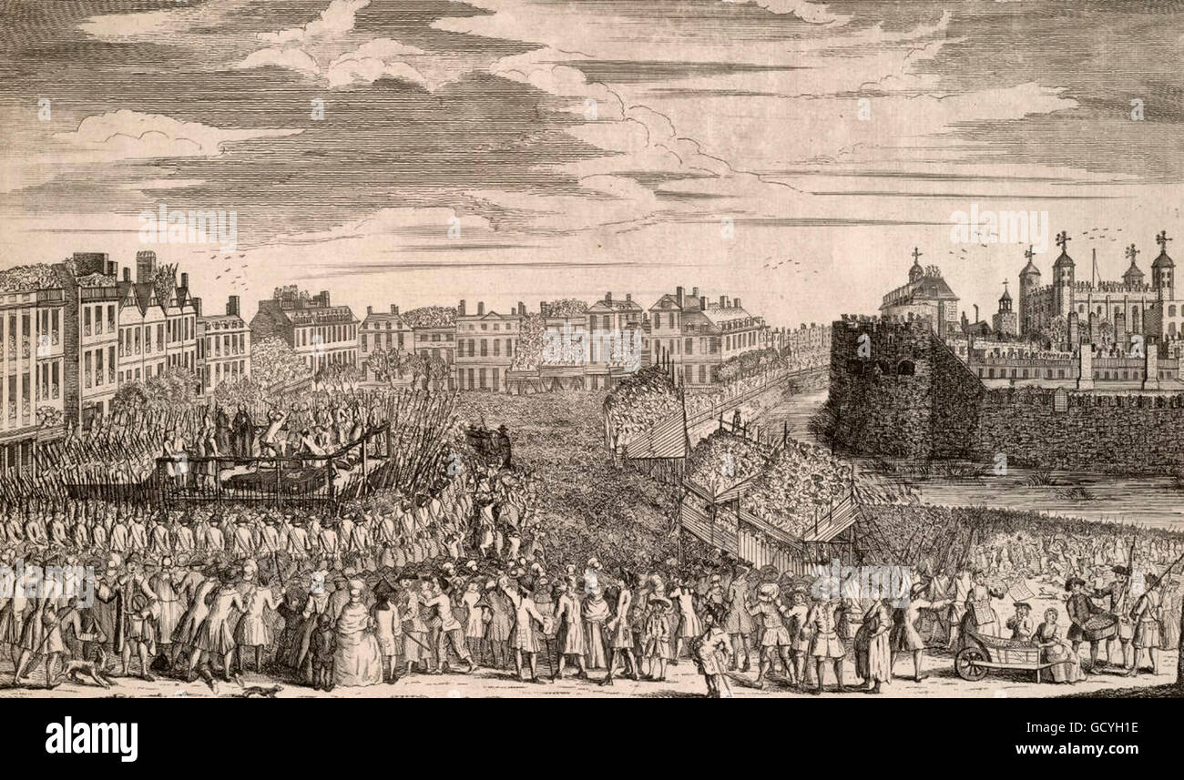 This is an engraving of the execution of rebels following the Jacobite rebellion in 1745-1746. The prisoners on - Stock Image
