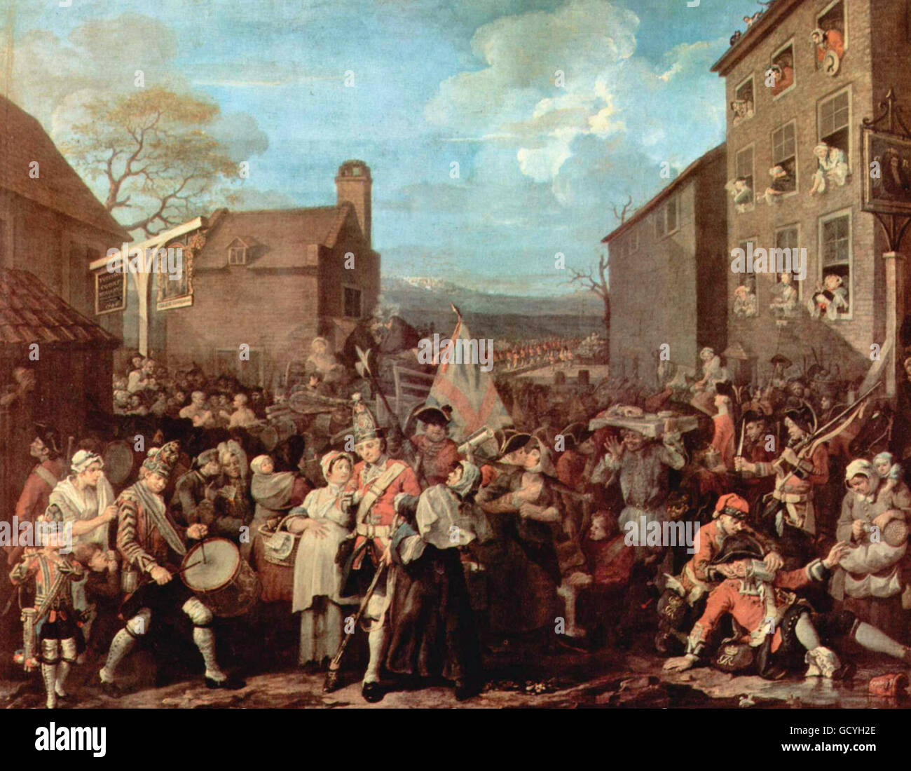 The March of the Guards to Finchley - William Hogarth - circa 1750 - Stock Image