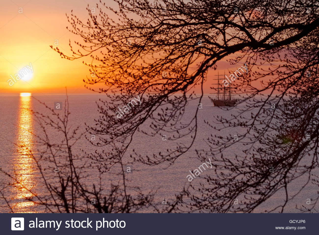 Georg Stage, a three-masted full-rigged Danish training tall ship at sunrise on the Sound in Denmark one spring Stock Photo