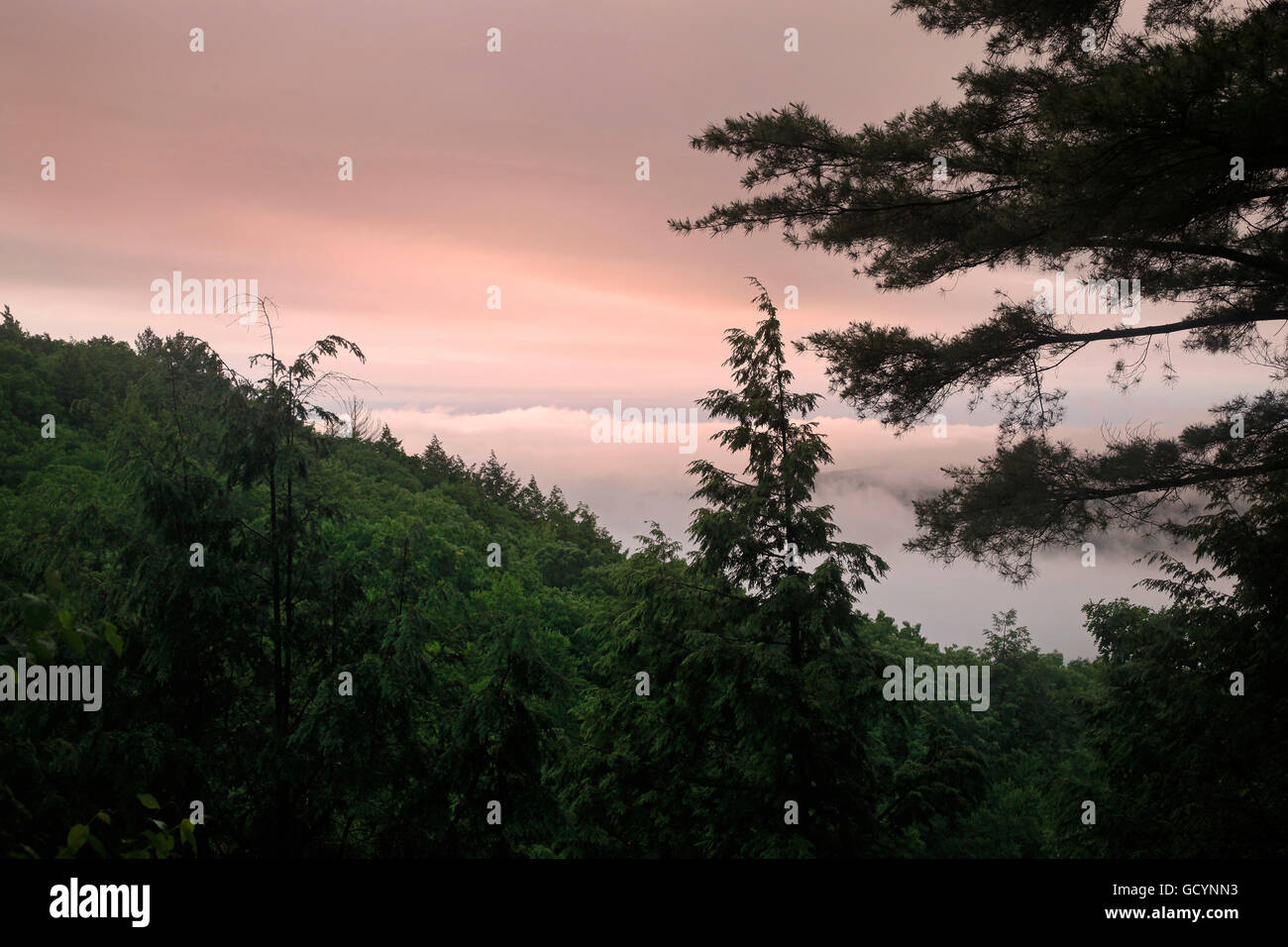A twilight view from the Appalachian Trail in Massachusetts. - Stock Image