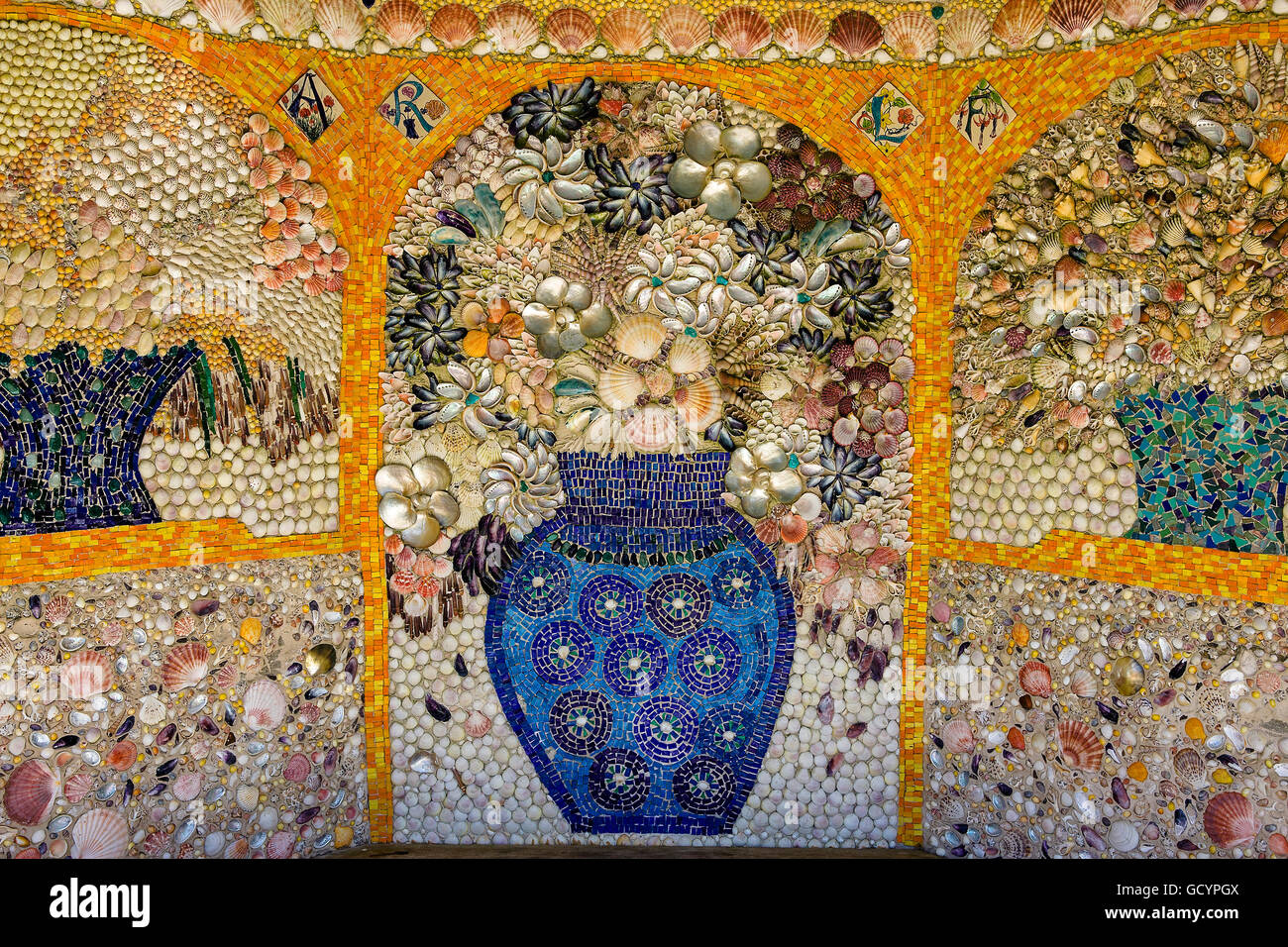 Shell mural, Mediterranean Garden, Tresco Abbey Gardens, Isles of Scilly, UK - Stock Image