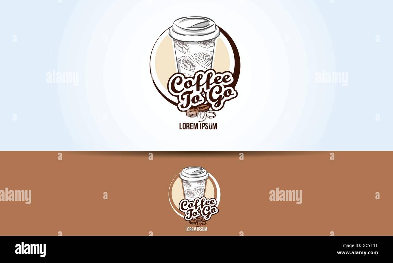 coffee take away paper cup logo design stock vector art