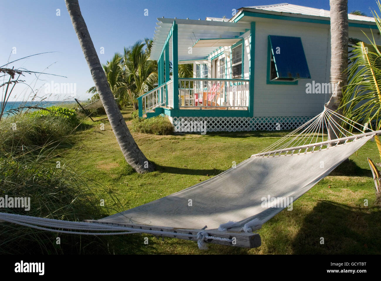 Typical loyalist house, Hope Town, Elbow Cay, Abacos. Bahamas - Stock Image